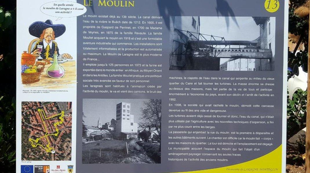 Sentier de découverte du patrimoine de Laragne - Panneau Le Moulin (Copyright : Office de Tourisme Sisteron Buëch)