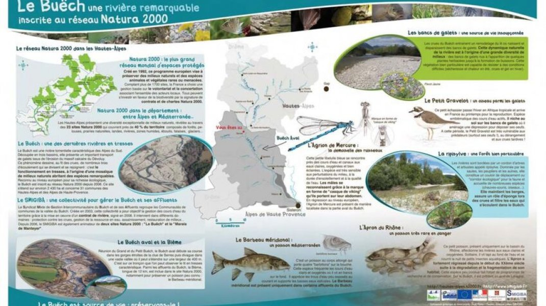 """Sentier Les Iscles d'Oriane à Laragne - Panneau informatif """"le Buëch, rivière remarquable"""" (Copyright : Office de Tourisme Sisteron Buëch)"""